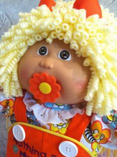 VTG CABBAGE PATCH #5 TOOTH CUSTOM PACI DOLL PENCIL CURL LIONS MANE CLOTHES SHOES