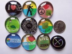 10 Geostones 1 With Mixed Geocaching Images by CoolGeocachingSwag, $5.00