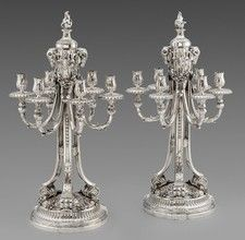 A Pair of 19th Century German Six-Light Candelabra - OnlineGalleries.com