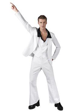 70-luvun discomies. Tämä valkoinen miesten puku teki John Travoltasta tanssiparketin kuumimman kollin elokuvassa Saturday Night Fever ja nyt sinulla on mahdollisuus ottaa samat moovsit haltuun tässä samantyylisessä naamiaisasussa.
