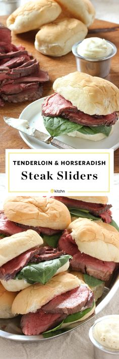 Beef Tenderloin and Horseradish Sauce Sliders Recipe. Looking for food ideas and recipes for the holidays! These delicious sandwiches are perfect for parties for new year's eve or any new years gatherings. Great for weeknight dinners or meals too. Quick, easy and impressive! party food!