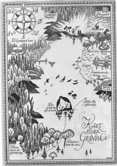 Illustrated map by Tove Jansson Tove Jansson, Fantasy Castle, Fantasy Map, Illustrations, Children's Book Illustration, Adventure Map, Family Adventure, Map Design, Painting & Drawing