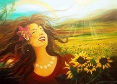 """""""Eu quero Deus amanhecendo em minha vida diante dos meus olhos... Esse sol cuja saudade se espreita, após longos dias de chuva. Eu quero Deus amanhecendo em minha vida Transformando as noites em meras centelhas que antecedem as manhãs Iluminando todo meu jardim, as flores mais preciosas minha família e meus amigos... Eu quero Deus amanhecendo em mim."""" (Sirlei L. Passolongo) Arte - Gina de Gorna"""