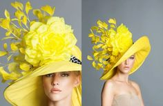 $340 - Kentucky Derby Fascinator Hat | Fashion at the Races, Hat, Fascinator, Millinery, Kentucky Derby - Bright yellow derby hat made of Taffeta, embellished with a black and white leopard band, handmade silk satin rose and soft goose feathers.