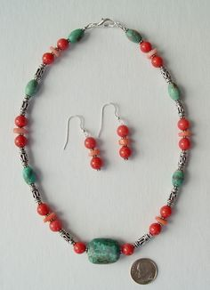 Coral and Turquoise Necklace by whitecloverstudios on Etsy, $60.00