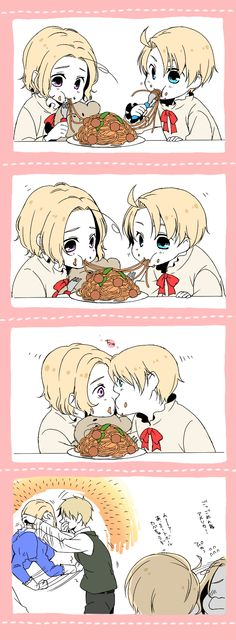 Little Alfred and Matthew are sharing a plate of spaghetti when...the inevitable happens. :P - Art by Hitachi.
