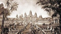 Drawing of Angkor Wat in 1880 by Louis Delaporte.