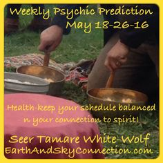 #WeeklyPsychicPrediction  May 18-26-16 #Seer #TamareWhiteWolf  #Health-it will feel like you have stirred up a bees hive with lots of activity pulling you away from your perceived health regimen! If your willing to alter your view you will see that those things encroaching on your personal health schedule may also be health related activity! So go with it, as long as you keep moving your doing well #Psychic