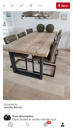 Wohnen im Industrial Chic Style - Markant & kernig Modern rustic chunky timber dining table industri Timber Dining Table, Dining Room Table, Table And Chairs, Reclaimed Wood Dining Table, Industrial Dining Chairs, Industrial Living, Modern Rustic Dining Table, Kitchen Industrial, Industrial Bedroom