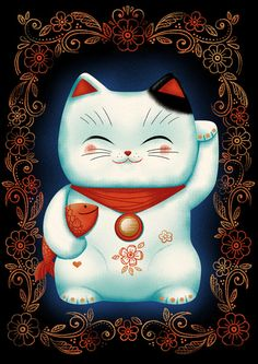 Lucky Cat by Cat Finnie http://society6.com/CatFinnie/Lucky-Cat-VMd_Print