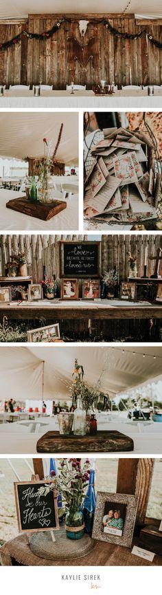 Rustic Wedding Decor / Wedding Reception Decoration Ideas / Outdoor Wedding Reception / Nebraska Wedding Photographer / Kaylie Sirek Photography