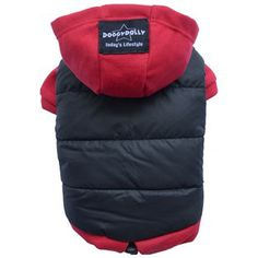 Doggy Dolly Dog Coat Black quilted with red hood