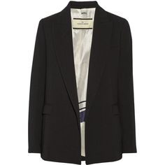 By Malene Birger Persillas crepe blazer (4991840 BYR) ❤ liked on Polyvore featuring outerwear, jackets, blazers, crepe blazer, crepe jacket, black jacket, by malene birger and tailored blazer