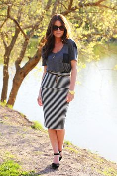 Add a casual vibe to a pencil skirt by pairing it with a loose tee.