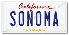 "California SONOMA 100% Aluminum Vanity License Plate Tag 6"" x 12"" Brand New"