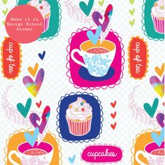 Pattern design showcase part 2 - Module 2 (October 2014 class) Showcase Design, New Theme, October 2014, Food Illustrations, 100th Day, Surface Pattern Design, School Design, Cupcake, How To Make