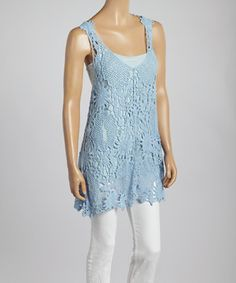Love this Blue Floral Crochet Linen-Blend Tank by Pretty Angel on #zulily! #zulilyfinds
