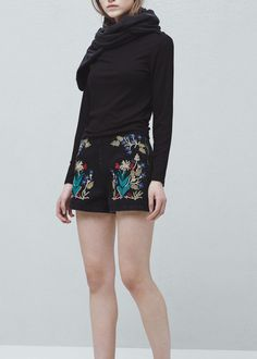 Embroidered cotton shorts -  Women | MANGO