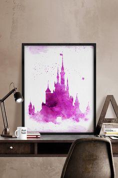 Disney castle watercolor Watercolor print Disney by iPrintPoster Princess Wall Art, Princess Castle, Princess Belle, Disney Princess, Kids Decor, Art Decor, Chateau Disney, Disney Posters, Album Photo