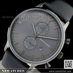 954bcee3648e1 BUY Emporio Armani Chronograph Gray Face Black Leather Strap Mens Watch  AR0388 - Buy Watches Online