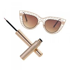 Femme Fatale Our motto: 2 cat eyes are better than 1.   MARSALA METALSHINE LIQUID LINER, Sephora + Pantone Universe $18 STEEL CAT SUNGLASSES, Quay $37