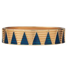 Sumerian Royal Bangle - The blue lapis lazuli and gleaming gold used to make these adornments provide a rich sense of contrasting color and may have had amuletic properties. They certainly evoked distant lands, because the materials are not native to Mesopotamia; the lapis lazuli would have originated in Afghanistan and the gold would have traveled from Iran, Anatolia, or even faraway Egypt.