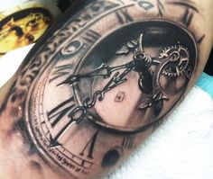 Realistic black and gray tattoo of Time by artist Johnny Smith