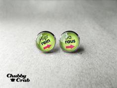 ● Ohrringe Hier rein da raus Grün ● Stecker Silber von Chubby Crab auf DaWanda.com
