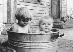 Bath time at the farm, North Dakota, 1932