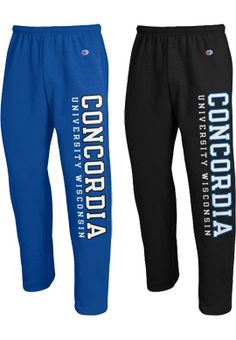 Comfy and cozy fleece open bottom sweatpants with elastic waistband with drawstring, side pockets, printed school name down the left leg. Concordia University, Sweat Pants, College Life, Wisconsin, Sydney, Goal, Clothes, Outfits, Shopping