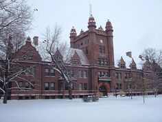 Decatur, IL: Millikin University's Shilling Hall in Winter; this building was dedicated by President Theodore Roosevelt in 1903