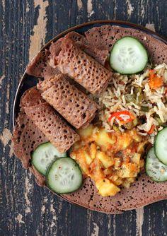 Ethiopian Injera: vegan & gluten free... http://www.veganricha.com/2013/03/ethiopian-injera-100-teff-flatbread.html