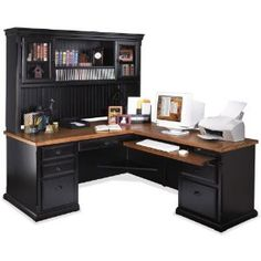 Southampton Onyx LDesk with Right Return and Hutch