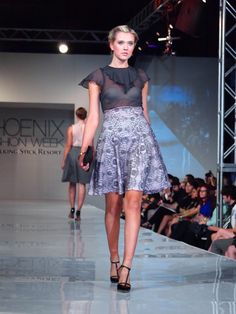 The Silence Collection - Debuting at Phoenix Fashion Week.  Mae Skirt with Louise Blouse.  Model: Madison Brown.  Buy the Silence Collection now at http://briseeley.luevo.com/