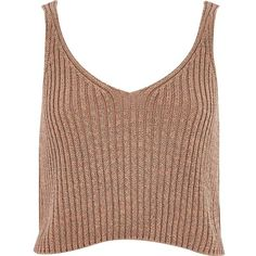River Island Camel metallic cropped vest (1.965 ISK) ❤ liked on Polyvore featuring tops, crop tops, shirts, crops, tanks, cream, sale, metallic tank top, big & tall shirts y cropped denim vest