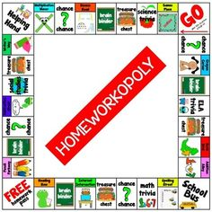 """Homeworkopoly Board for rewarding students for doing their homework. This product includes: two boards (one that is assembled, and one that is not); rules on how to play; 35 coupons for """"chance"""" and """"treasure chest""""; and homework passes."""