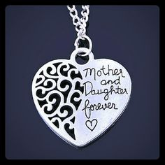 "Mother and daughter necklace New silver alloy mother/daughter love necklace. Chain is 18"" Jewelry Necklaces"