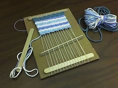 Loom weaving with Popsicle sticks. My pops always asked me when I would pick up weaving. Craft Stick Crafts, Crafts To Do, Yarn Crafts, Arts And Crafts, Diy Crafts, Craft Sticks, Plate Crafts, Popsicle Stick Crafts For Kids, Craft Gifts