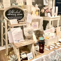 """Write It Out Loud on Instagram: """"A must in my display is my rustic step ladder & single nested table. Both are garage sale finds by my mother-in law. She loved that I loved…"""" Wedding Mirror, Garage Sale Finds, Mother In Law, Out Loud, Wedding Signs, Ladder, Mirrors, Love Her, Display"""