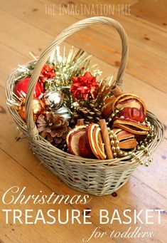 Create a Christmas sensory treasure basket for toddlers and preschoolers to explore textures, sights, sounds and scents of the season; from Anna Ranson of The Imagination Tree Baby Christmas Activities, Preschool Christmas, Christmas Themes, Christmas Fun, Winter Activities, Holiday, Nursery Activities, Infant Activities, Autism Activities