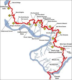 Tail of the dragon, Deal's Gap, North Carolina. Lots of fun on a bike. Not scary at all.