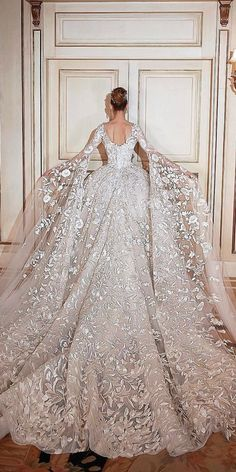 30 Ball Gown Wedding Dresses Fit For A Queen ❤️ ball gown wedding dresses w. 30 Ball Gown Wedding Dresses Fit For A Queen ❤️ ball gown wedding dresses with low back and long sleeves by sadek majed couture ❤️ See more: www. Princess Wedding Dresses, Dream Wedding Dresses, Bridal Dresses, Queen Wedding Dress, Princess Ball Gowns, Ball Gown Wedding Dresses, Modest Wedding, Wedding Dress Long Train, Royal Ball Gowns