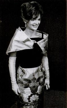Jackie Kennedy, 1963, wearing Joan Morse design with silk organza & velvet bodice, and skirt made from fabric given to Jackie by King Saud of Saudi Arabia.