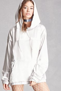A pullover hoodie from Private Academy™ crafted in a satin woven, featuring a longline silhouette, dropped shoulders, ruched long sleeves, a kangaroo pocket, and ribbed trim.