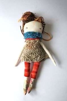 rag doll little lu 13 inch ish brown hand dyed by humbletoys