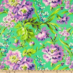Amy Butler Love Bliss Bouquet Emerald from @fabricdotcom  Designed by Amy Butler for Westminster Fabrics, this fabric features a large scale floral design and is perfect for quilting and craft projects as well as apparel and home decor accents. Large floral measures approximately 7''. Colors include lime, orchid, lavender, white, periwinkle and black on a green background.