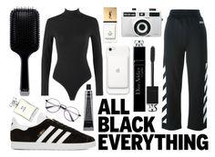 """monochrome: black"" by uniquelyurbanunicorn ❤ liked on Polyvore featuring Alaïa, Christian Dior, Off-White, GHD, adidas Originals, Holga, Yves Saint Laurent, Chanel, hairtrend and monochrome"