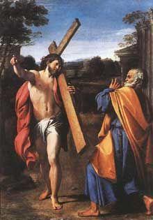 Annibale Carraci, Domine quo vadis, 1600-01, 77x56, tableau rapporté latéral gauche retombée voûte (copie), original NGL
