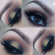 """#Beautiful #Gold #Smokey Eyes by ✨@C_Flower✨ with our """"JUDY"""" #eyelashes from our Dramatic Collection. EYES:: @Sugarpill Cosmetics Goldilux and Bulletproof ✨Subscribe to @C_Flower's YouTube channel to view her tutorial on this look ✨ Visit is at www.FlutterLashes.com"""