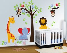 121,78 € Nursery Wall Decals - Safari Set with Lion, Monkeys, Giraffe and Elephant Decals - PLSF010R